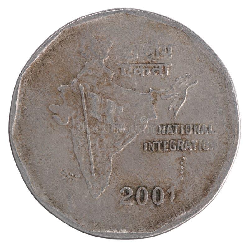Stara dwa Indiańskiej rupii moneta obraz stock