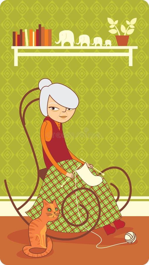 stara dziewiarska dama ilustracja wektor