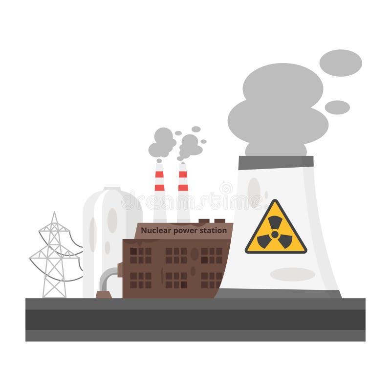stara elektrownia jądrowa ilustracja wektor