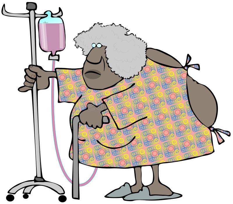 Stara etniczna kobieta pcha I w szpitalnej todze V fura ilustracja wektor