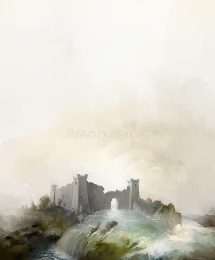Stara fantazi wierza ruin powodzi ilustracja ilustracji