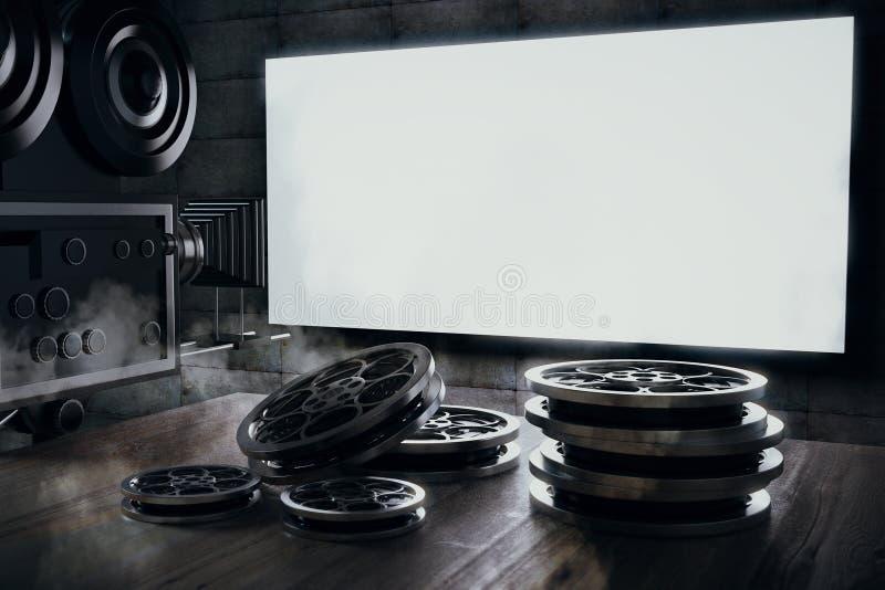 Stara film kamera i film ładownica na drewnianym stole i blan ilustracja wektor