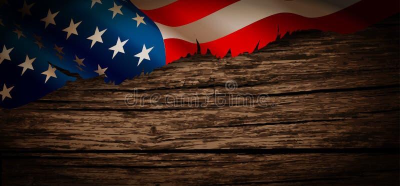 Stara flaga amerykańska na drewnianym tle ilustracja wektor
