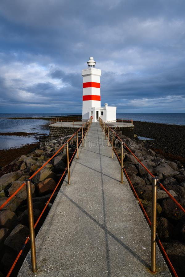 Stara Garðskagi latarnia morska w Iceland fotografia royalty free