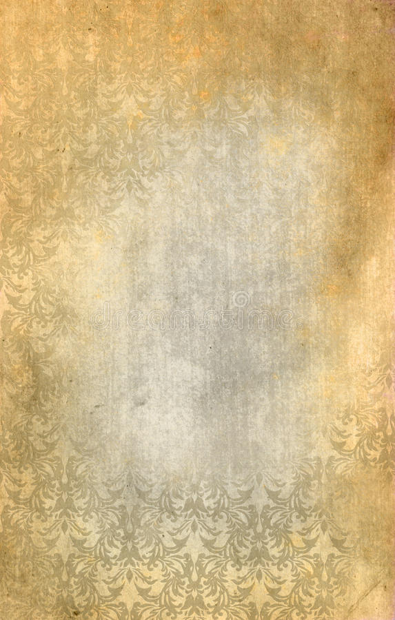 Stara grunge papieru tekstura i rocznika kwiecisty ornament zdjęcie royalty free