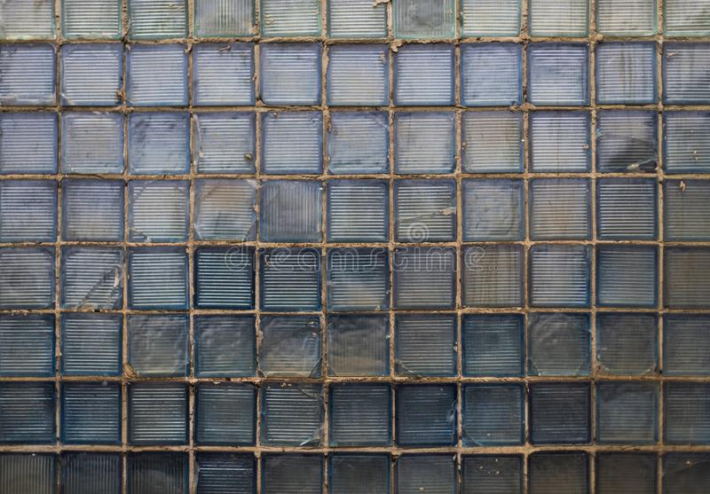 Stara grungy blokowa szklana cyan tekstura od USSR fotografia stock