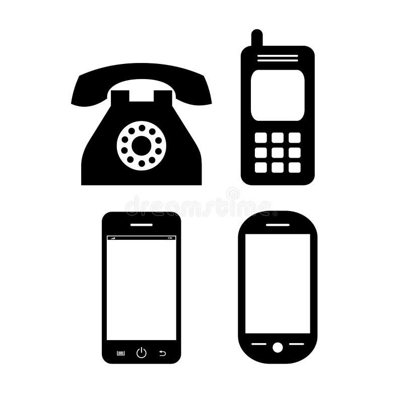 Stara i nowożytna telefonu wektoru ikona royalty ilustracja