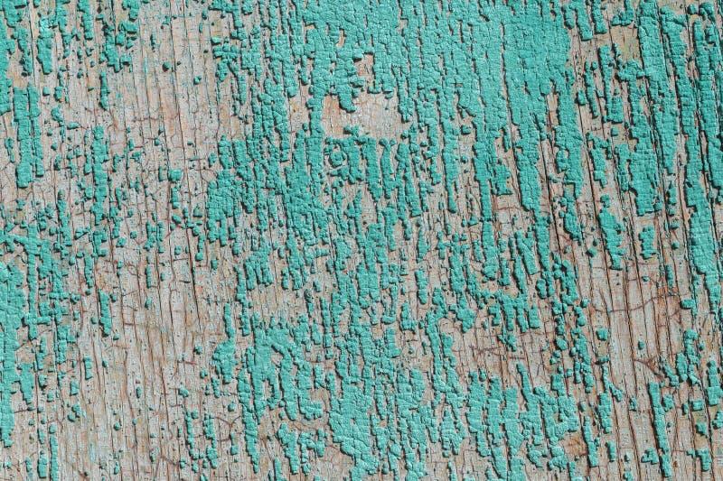 Stara i obierająca farba Z czasem zielona farba oderwała się od starych płyt i pękła tekstura drewna Wina fotografia stock