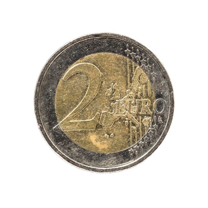 Stara i używać 2 euro moneta fotografia royalty free
