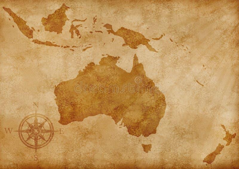 stara ilustracyjna Australia mapa