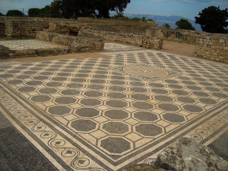 Stara Kamienna ściana Rujnuje piaska Brown podłoga architektura Uszkadzającego rzymianina zdjęcie royalty free