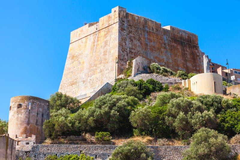 Stara kamienna cytadela Bonifacio, Corsica, Francja obrazy royalty free