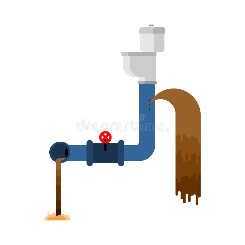 Stara kanalizacja Łamana dostawa wody Wodny przeciek royalty ilustracja