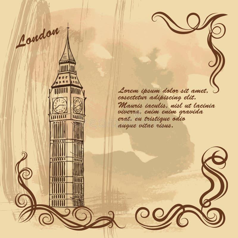 big ben karta Stara Karta Z Londyńskimi Miasto Widokami, Big Ben Ilustracja  big ben karta