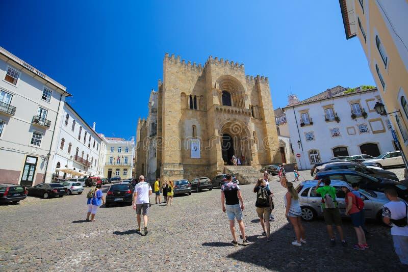 Stara katedra Velha lub Se Coimbra, Portugalia obraz stock