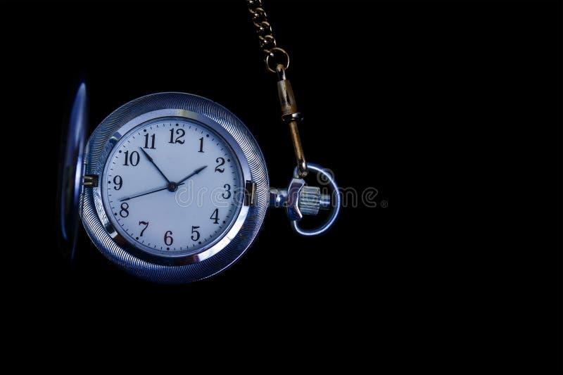 Stara kieszonkowa czujka na czarnym tle Pocket Watch na czarnym tle obrazy royalty free