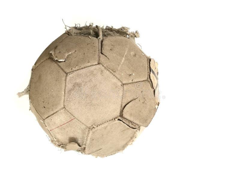 Stara klasyczna piłki nożnej piłka i brudny futbol odosobniony na whit obrazy royalty free