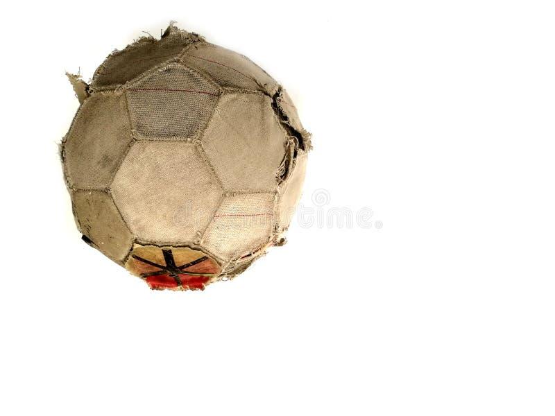Stara klasyczna piłki nożnej piłka i brudny futbol odosobniony na whit zdjęcie stock