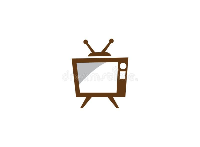 Stara klasyczna telewizja z anteną i bielu ekranem, antyk tv dla logo projekta ilustracji ilustracja wektor