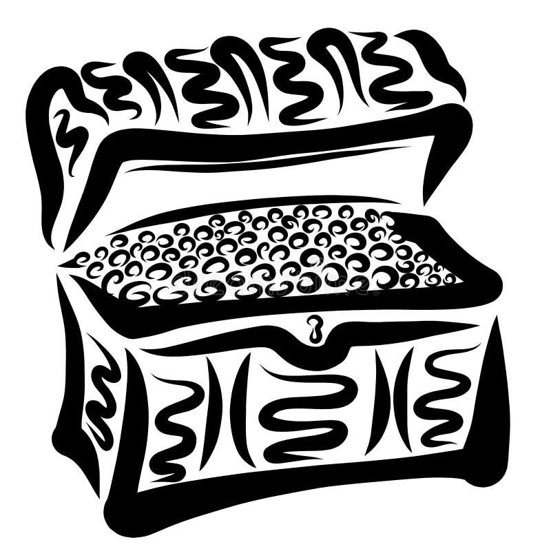 Stara klatka piersiowa pełno monety, skarby i przygody, ilustracja wektor