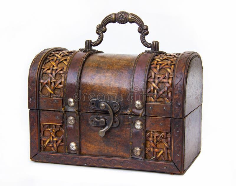 Stara klatka piersiowa robić drewno i skóra z żelaznym kędziorkiem i rękojeścią fotografia stock