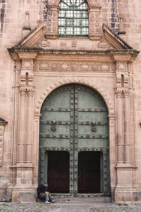 Stara kościół katolicki fasada w Cuzco Peru zdjęcie royalty free