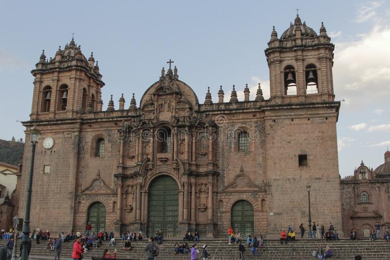 Stara kościół katolicki fasada w Cuzco Peru obrazy royalty free