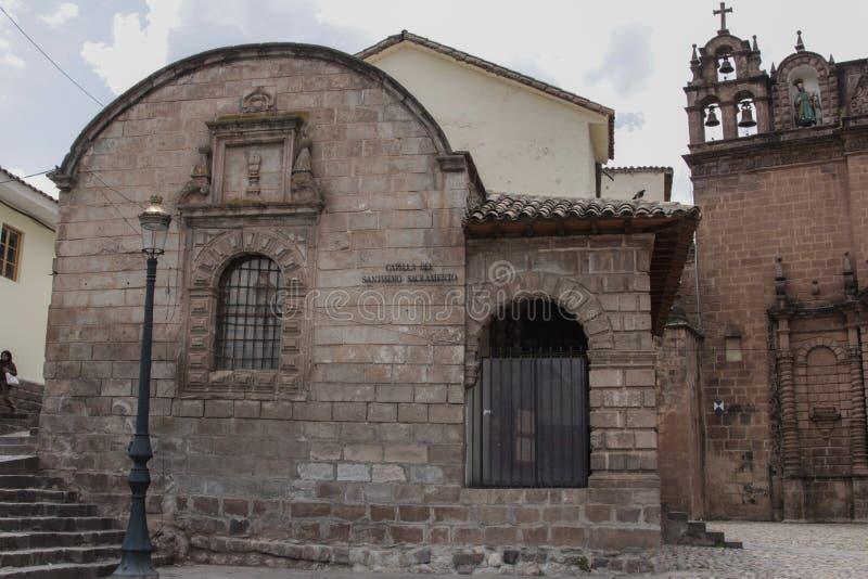 Stara kościół katolicki fasada w Cuzco Peru fotografia royalty free