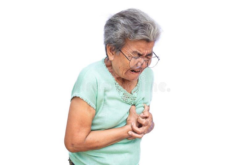 Stara kobieta czująca kierowa obolałość na białym tle zdjęcia stock