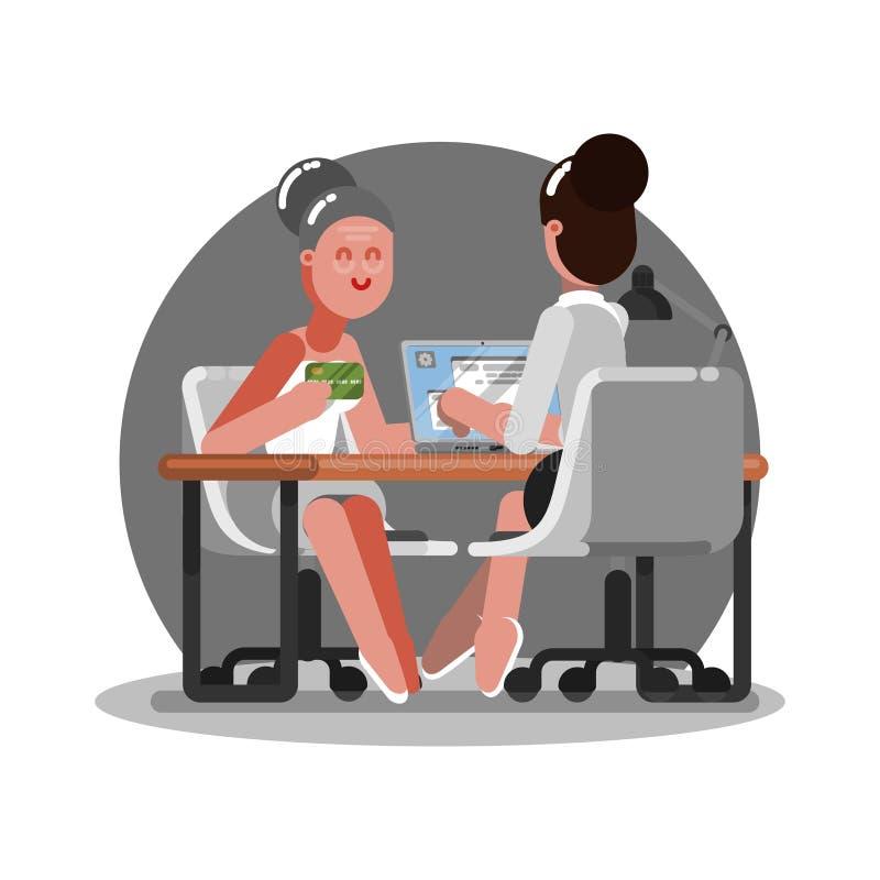 Stara kobieta dostaje kredytową kartę w banku ilustracja wektor