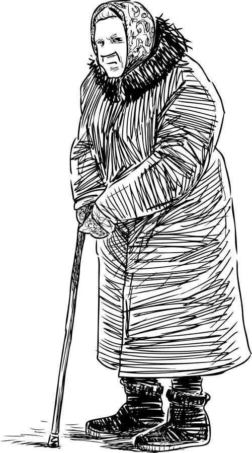 Stara kobieta na przespacerowaniu ilustracja wektor