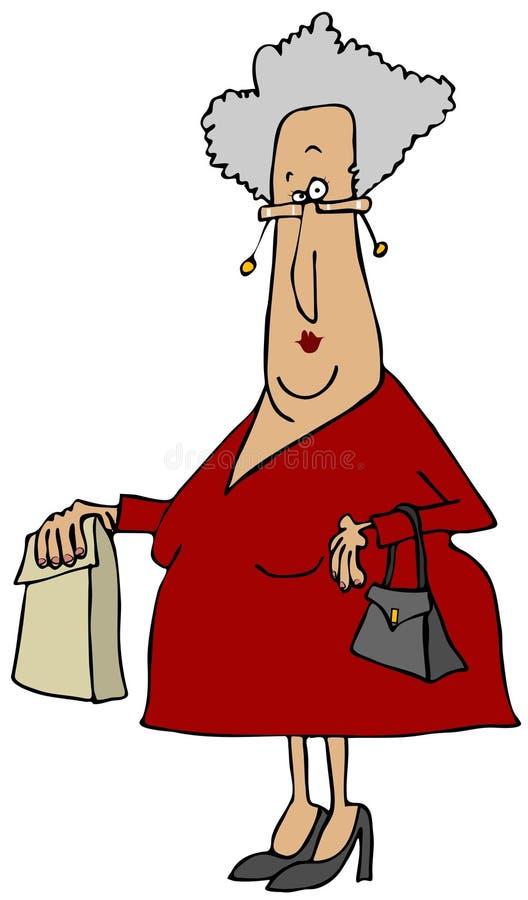 Stara kobieta niesie worek royalty ilustracja