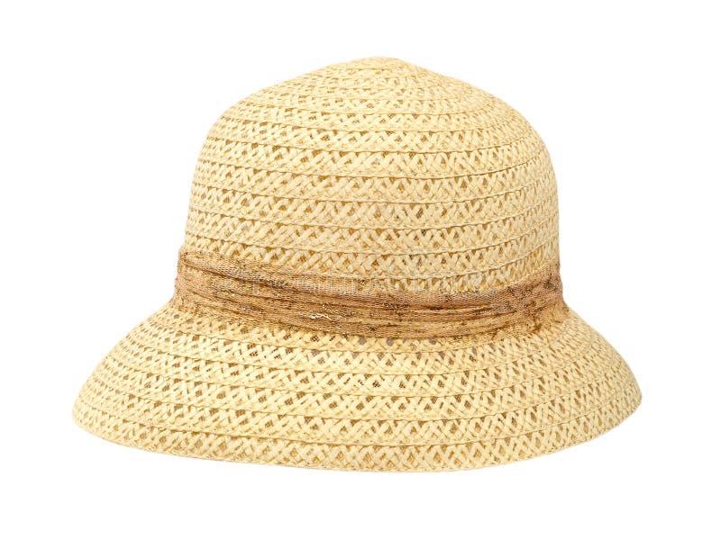 Stara kobieta słomiany kapelusz. Odosobniony. obrazy royalty free