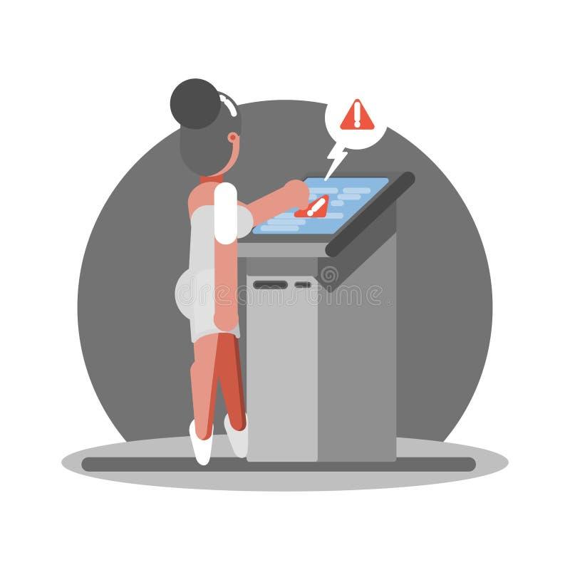 Stara kobieta troudle używać ATM ilustracja wektor