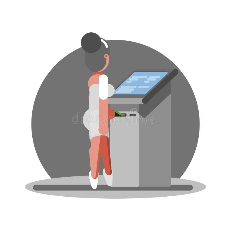 Stara kobieta używa ATM ilustracja wektor
