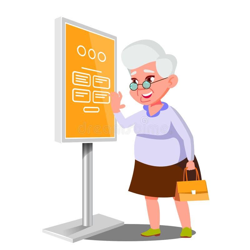 Stara Kobieta Używa ATM, Cyfrowego Śmiertelnie wektor Interaktywny Informational kiosk Elektronicznej jaźni usługa Płatniczy syst royalty ilustracja