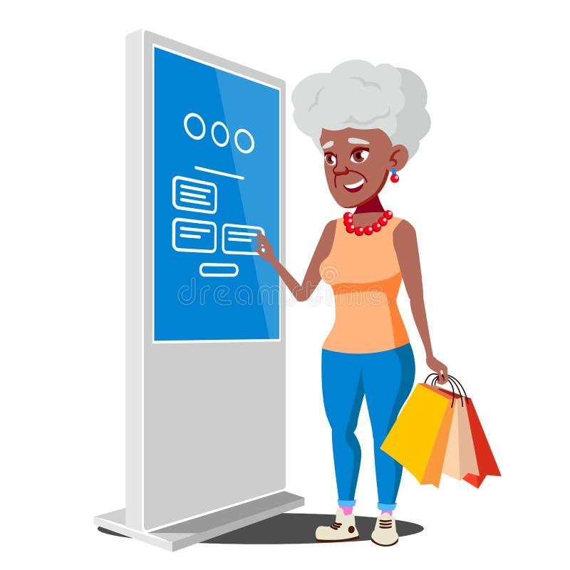 Stara Kobieta Używa ATM, Cyfrowego Śmiertelnie wektor Pokazywać informację, Reklamuje Odosobniona płaska kreskówki ilustracja ilustracja wektor