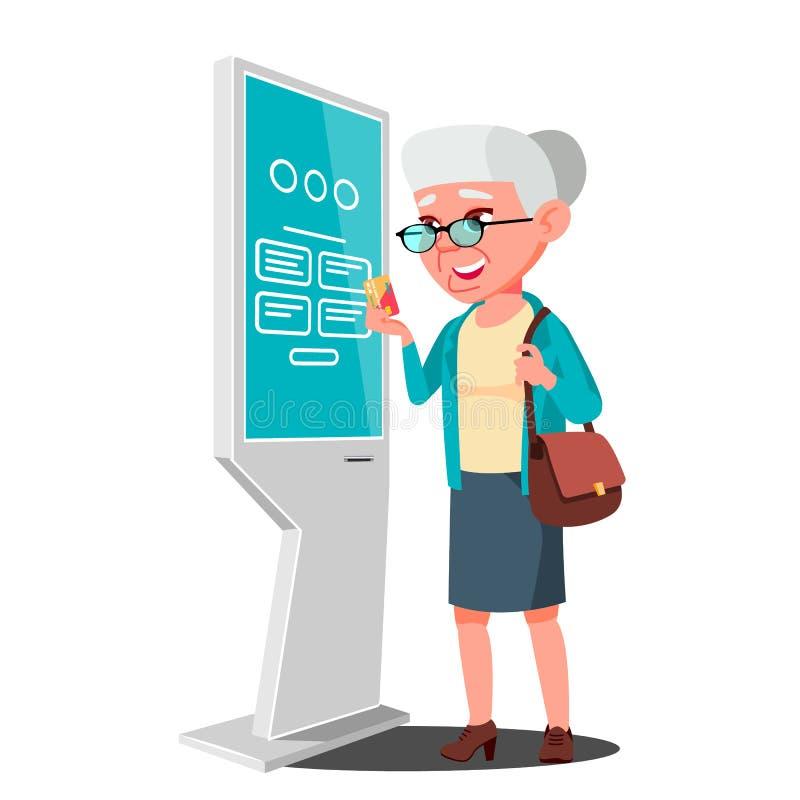 Stara Kobieta Używa ATM, Cyfrowego Śmiertelnie wektor Reklamowy dotyka ekran Podłogowa pozycja Pieniądze depozyt, wycofanie ilustracja wektor