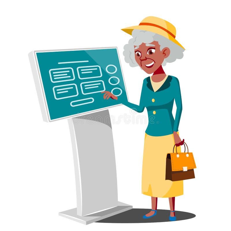 Stara Kobieta Używa ATM maszynę, Cyfrowego Śmiertelnie wektor Cyfrowego kiosk PROWADZĄCY pokaz Jaźń Usługowy system informacyjny royalty ilustracja