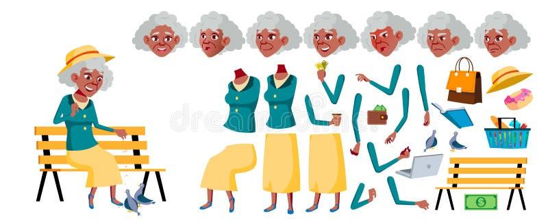 Stara Kobieta wektor Starszy osoba portret czerń Afro amerykanin Starsi ludzi aged Animaci tworzenia set Twarz royalty ilustracja