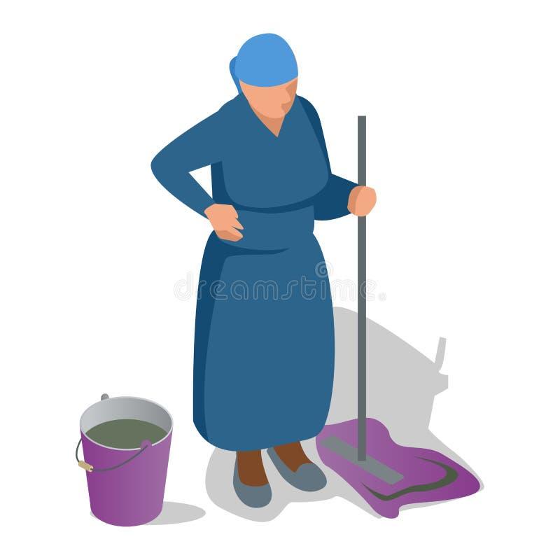Stara kobieta z kwaczem w jej ręce i wiadrze czyści Płaska isometric wektorowa ilustracja ilustracja wektor
