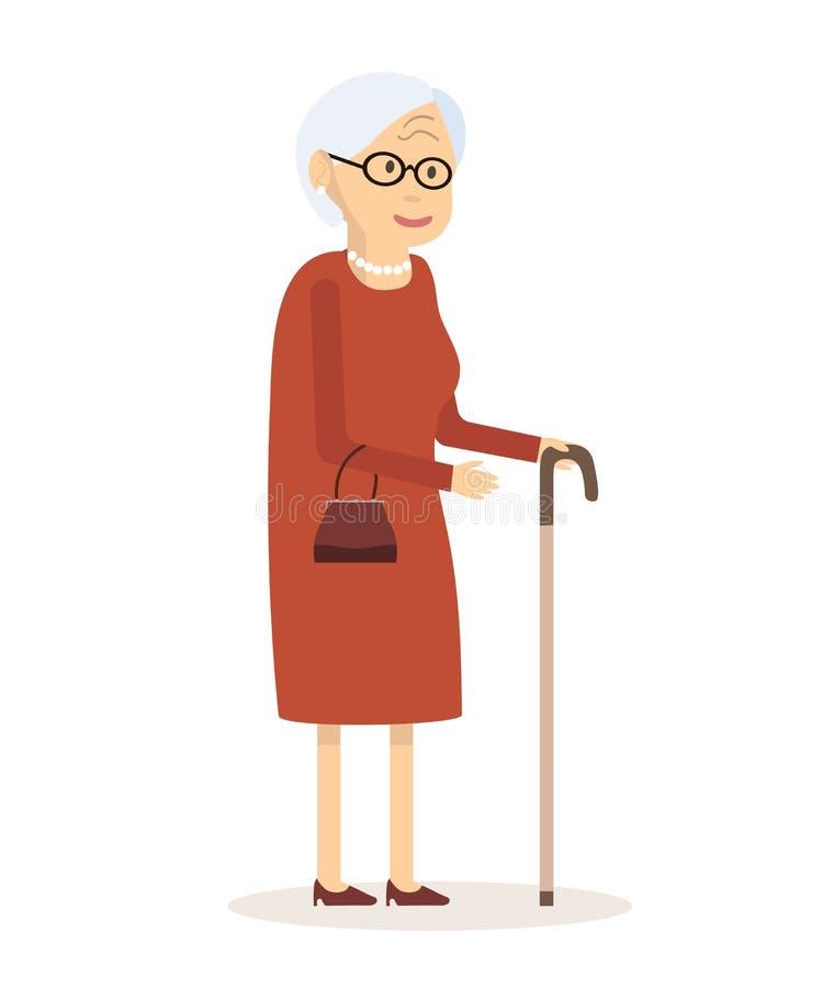 Stara kobieta z trzciną royalty ilustracja