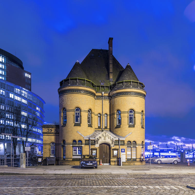 Stara komenda policji w Speicherstadt w Hamburg fotografia royalty free