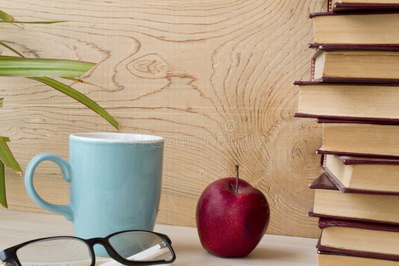 Stara książka i szkła na drewnianej półce zdjęcie stock