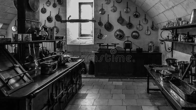 Stara kuchnia Chenonceau pałac zdjęcia stock