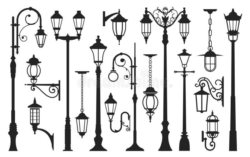 Stara latarni ulicznej czerni sylwetka, miasto rocznik royalty ilustracja