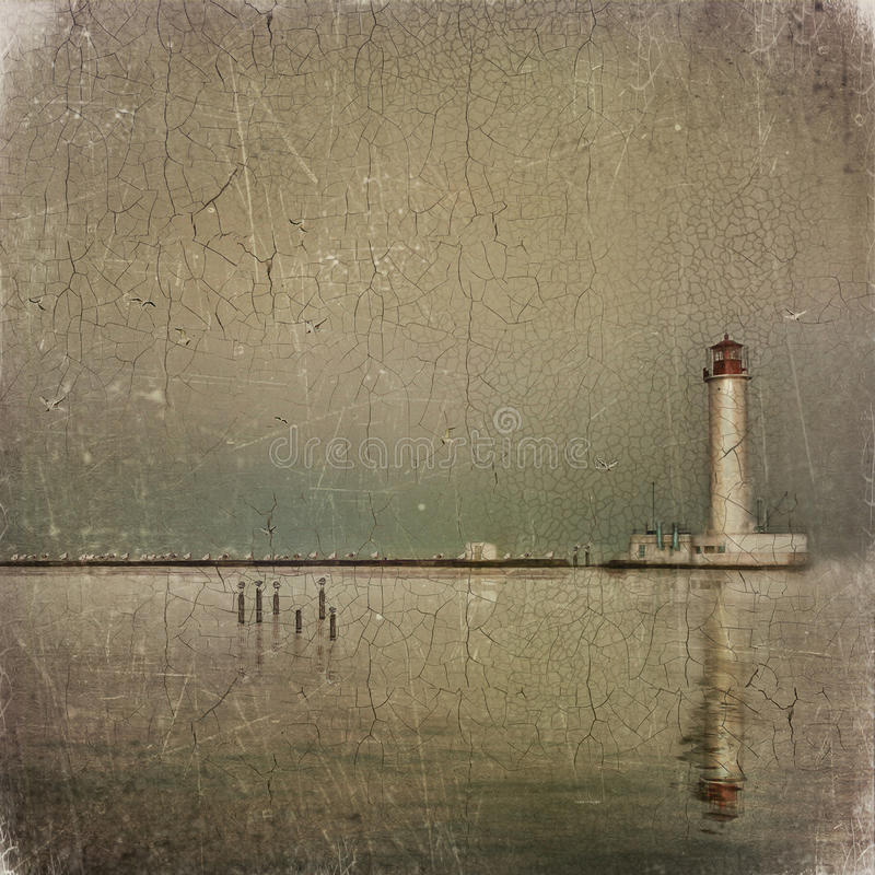 Stara latarnia morska ilustracji