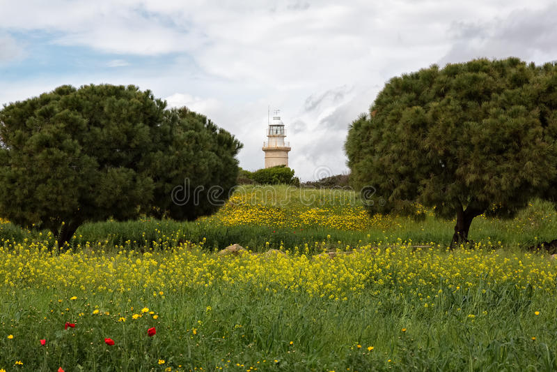 Stara latarnia morska w Paphos, Cypr obrazy royalty free