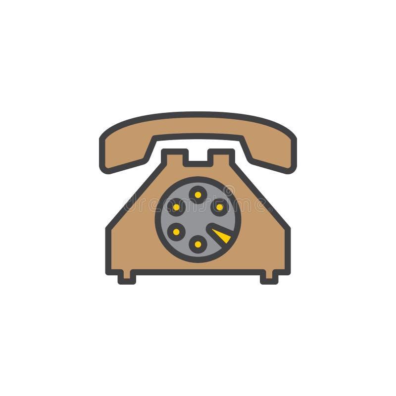 Stara linii telefonicznej ikona, wypełniający konturu wektoru znak, liniowy kolorowy piktogram odizolowywający na bielu royalty ilustracja