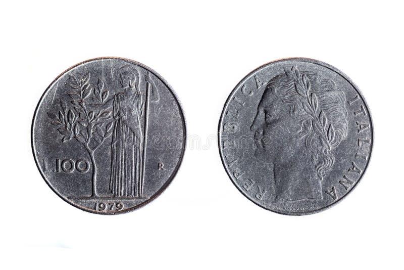 Stara 100 lirów włocha moneta zdjęcie royalty free
